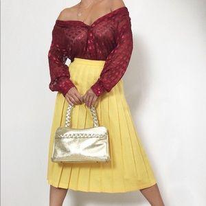 Vintage Lemon Yellow Pleated Midi Skirt